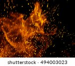 fire flames with sparks on a
