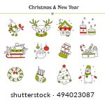 hand drawn thin line icons set  ... | Shutterstock .eps vector #494023087