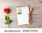 valentine red rose with note... | Shutterstock . vector #494072593