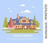 big modern house residence...   Shutterstock .eps vector #494076253