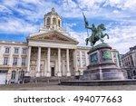 godfrey of bouillon statue and... | Shutterstock . vector #494077663