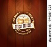 retro styled gold logo of pub... | Shutterstock .eps vector #494084323
