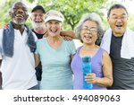 senior group friends exercise... | Shutterstock . vector #494089063