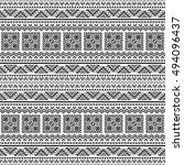ethnic seamless monochrome... | Shutterstock .eps vector #494096437