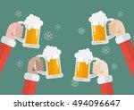 santa clinking beer glasses.... | Shutterstock .eps vector #494096647