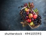 autumn fruits and vegetables in ... | Shutterstock . vector #494105593