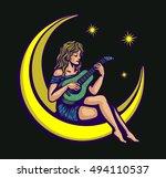 moonlight serenade  cute naive... | Shutterstock .eps vector #494110537