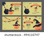set of halloween party... | Shutterstock .eps vector #494110747