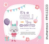 it's a girl  invitation card... | Shutterstock .eps vector #494112223
