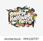 happy halloween greeting card... | Shutterstock .eps vector #494120737