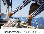 young handsome sailor pulling... | Shutterstock . vector #494135413