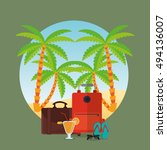 travel vacation or holidays... | Shutterstock .eps vector #494136007