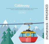 cableway on mountain landscape. ... | Shutterstock .eps vector #494143423