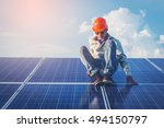 one electrician working on... | Shutterstock . vector #494150797