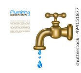 brass water faucet with blue... | Shutterstock .eps vector #494151877