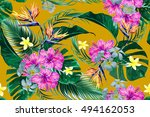 tropical flowers  palm leaves ... | Shutterstock .eps vector #494162053