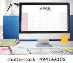 april monthly calendar weekly... | Shutterstock . vector #494166103