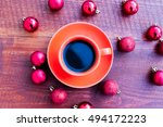 cup of coffee and christmas... | Shutterstock . vector #494172223