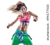 Small photo of woman fitness excercises dancer dancing