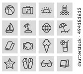 vector black line summer icons... | Shutterstock .eps vector #494181613