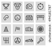 vector black line racing icons... | Shutterstock .eps vector #494181787