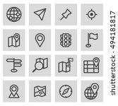 vector black line map icons set ... | Shutterstock .eps vector #494181817