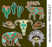 set of western patches elements.... | Shutterstock .eps vector #494182117