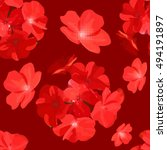 Red Floral Background Seamless...