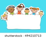 illustration of kids peeping... | Shutterstock . vector #494210713
