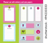planner set. note paper  notes  ... | Shutterstock .eps vector #494233333