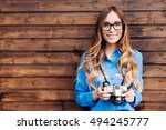 happy young hipster woman in... | Shutterstock . vector #494245777