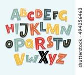 vector funny comics font. hand... | Shutterstock .eps vector #494256463