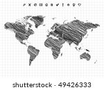 world map drawing  pencil sketch | Shutterstock .eps vector #49426333
