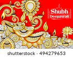 illustration of burning diya on ... | Shutterstock .eps vector #494279653