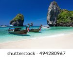 nui bay beach at ko phi phi don ... | Shutterstock . vector #494280967