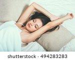 young woman portrait in bedroom ... | Shutterstock . vector #494283283