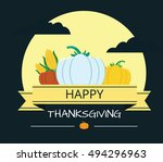 happy thanksgiving card ... | Shutterstock .eps vector #494296963