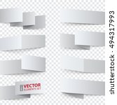 folded white paper banners with ... | Shutterstock .eps vector #494317993