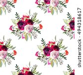 pink red roses floral  pattern... | Shutterstock . vector #494318617