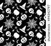 halloween seamless pattern.... | Shutterstock . vector #494342797
