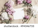 mockup with card and flowers | Shutterstock . vector #494346733