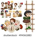children doing different... | Shutterstock .eps vector #494361883