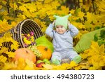 Little Baby In The Autumn Forest