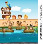 children looking at beavers in... | Shutterstock .eps vector #494383243