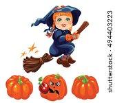 orange halloween pumpkin set...   Shutterstock .eps vector #494403223