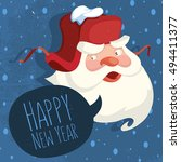santa claus with a russian ear... | Shutterstock .eps vector #494411377