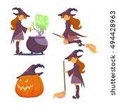 set for halloween. big pumpkin... | Shutterstock .eps vector #494428963