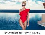 beautiful blonde woman model... | Shutterstock . vector #494442757