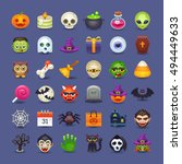 cute halloween icons | Shutterstock .eps vector #494449633