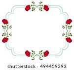 horizontal frame with red roses.... | Shutterstock . vector #494459293